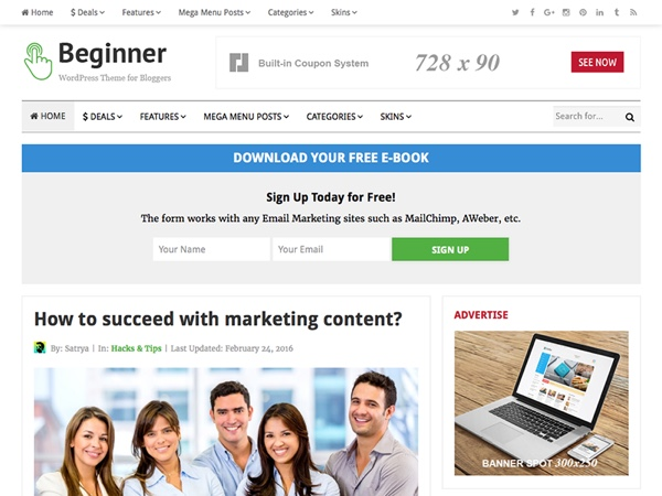 Beginner WordPress Theme