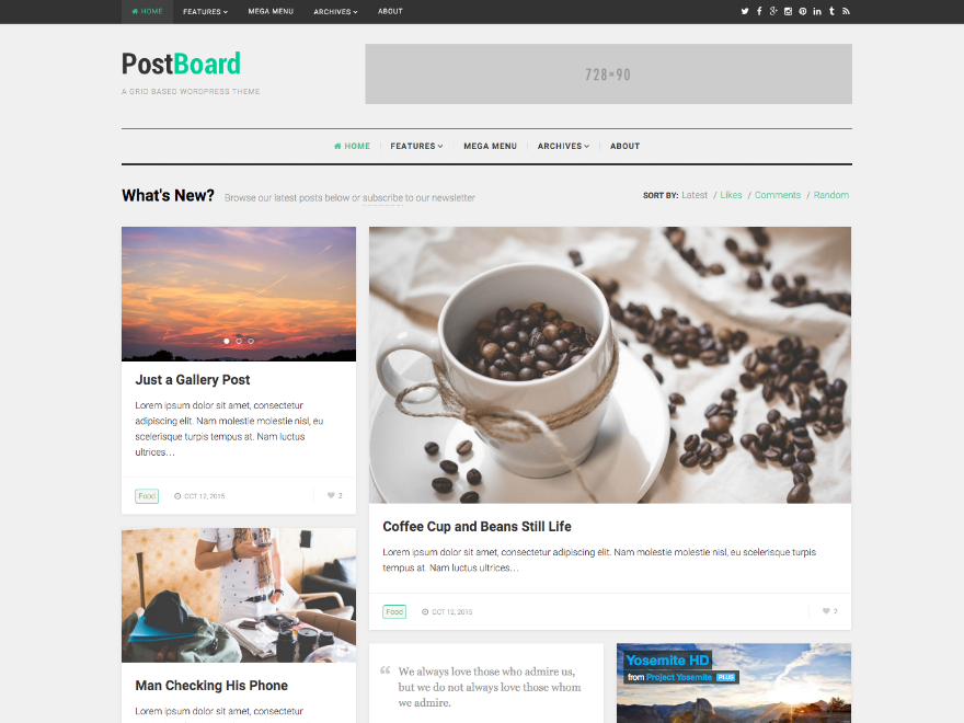 PostBoard Grid with Custom Width