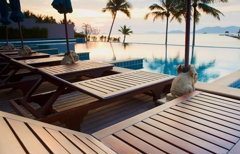 Outdoor resort pool in asia tourist islands