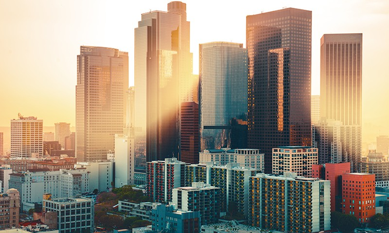 Los Angeles downtown skyline at sunset