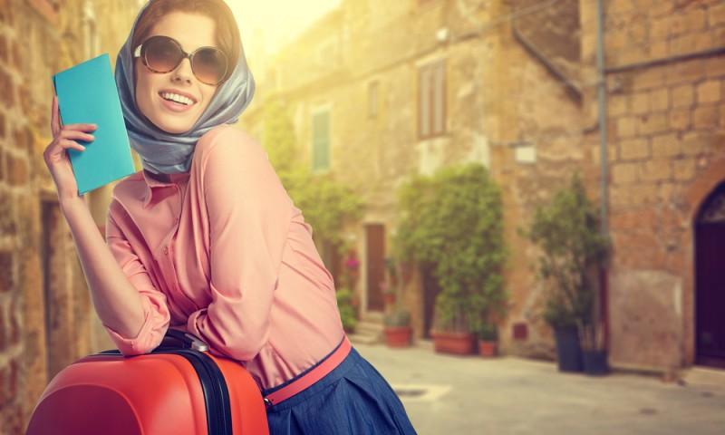 Elegant girl on street of italian city