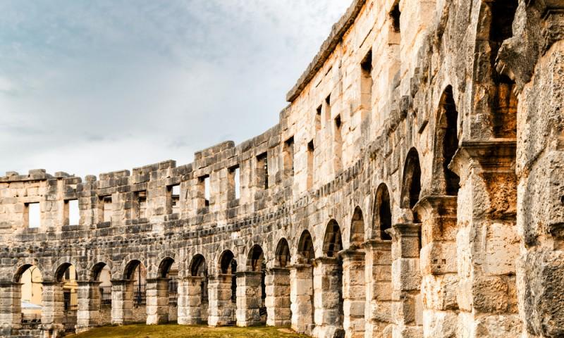 Architecture details of the Roman amphitheatre