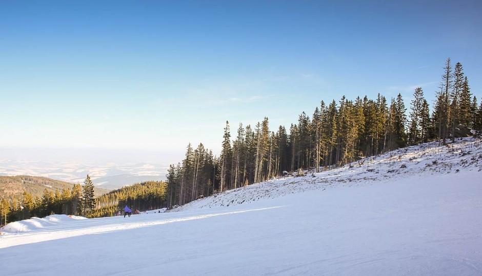 Ski Slope with Blue Sky
